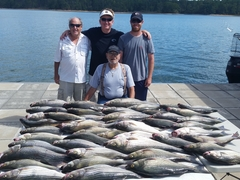 Group with striper, white perch, catfish, crappie Little River Guide Service Clarks Hill Lake GA Lake Strom Thurmond SC