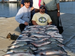 Group of six with catch after fishing trip Little River Guide Service Clarks Hill Lake GA Lake Strom Thurmond SC