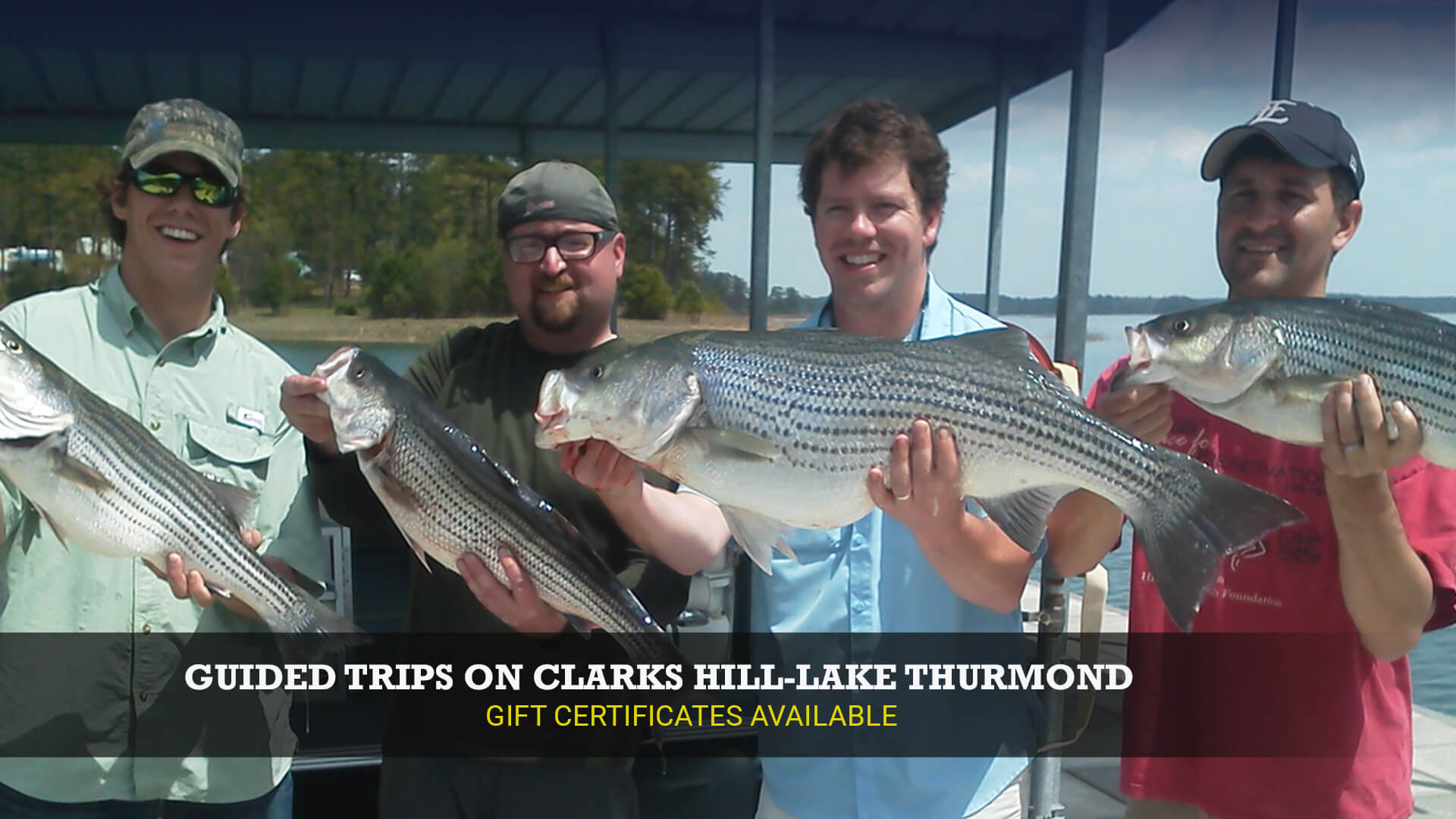 Four friends guided fishing trip Little River Guide Service Clarks Hill Lake GA Lake Strom Thurmond SC